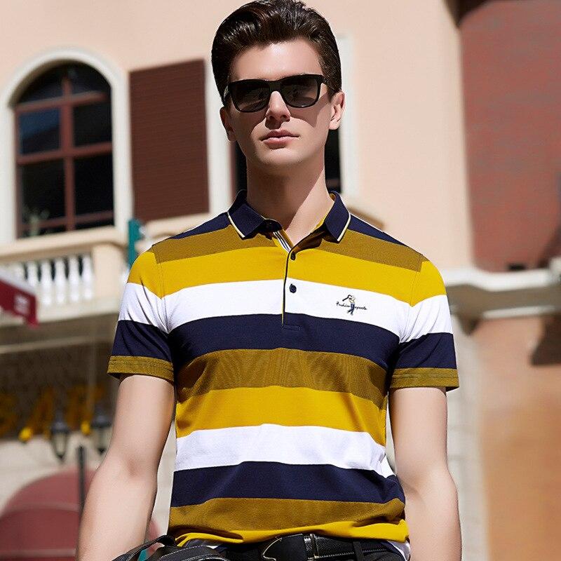 Hot Sale 2018 Spring Polo Shirt Men Cotton Short Sleeve Business Designer Slim Fit Plus Size XXXL Striped Embroidery L-8550