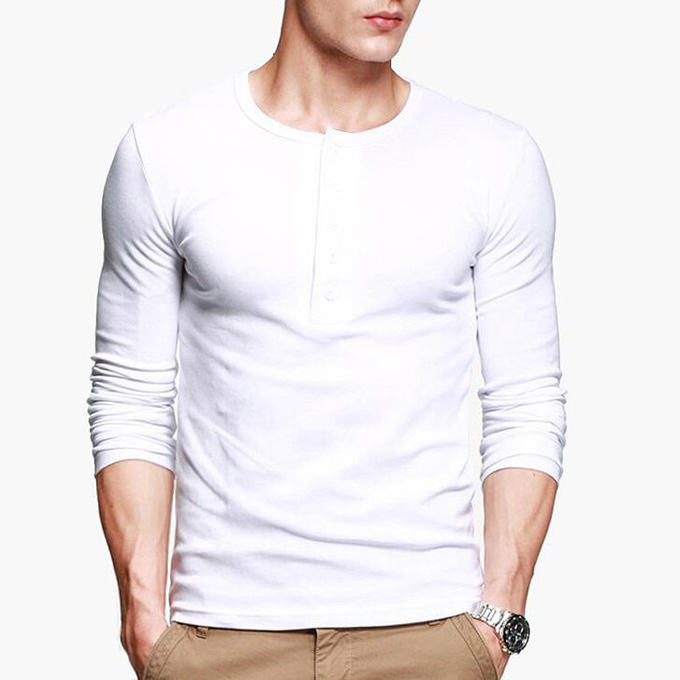 607c5760dc6 Mens Casual T shirt Henley shirt Long Sleeve Slim Flexibility Tee Black  Gray M To XXL ST 807-in T-Shirts from Men s Clothing on Aliexpress.com