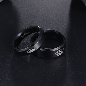 ELSEMODE 1-Piece Titanium His Queen Her King - DIY Engraved Couple Ring - Romantic Engagement Wedding Rings For Men and Women Jewelry 1