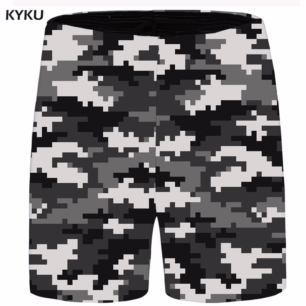 KYKU Brand Camo Men Blurry Gothic Cargo Shorts Ink 3d Print Beach Casual Shorts Hip Hop Mens Short 2018 New Summer Male Big Size