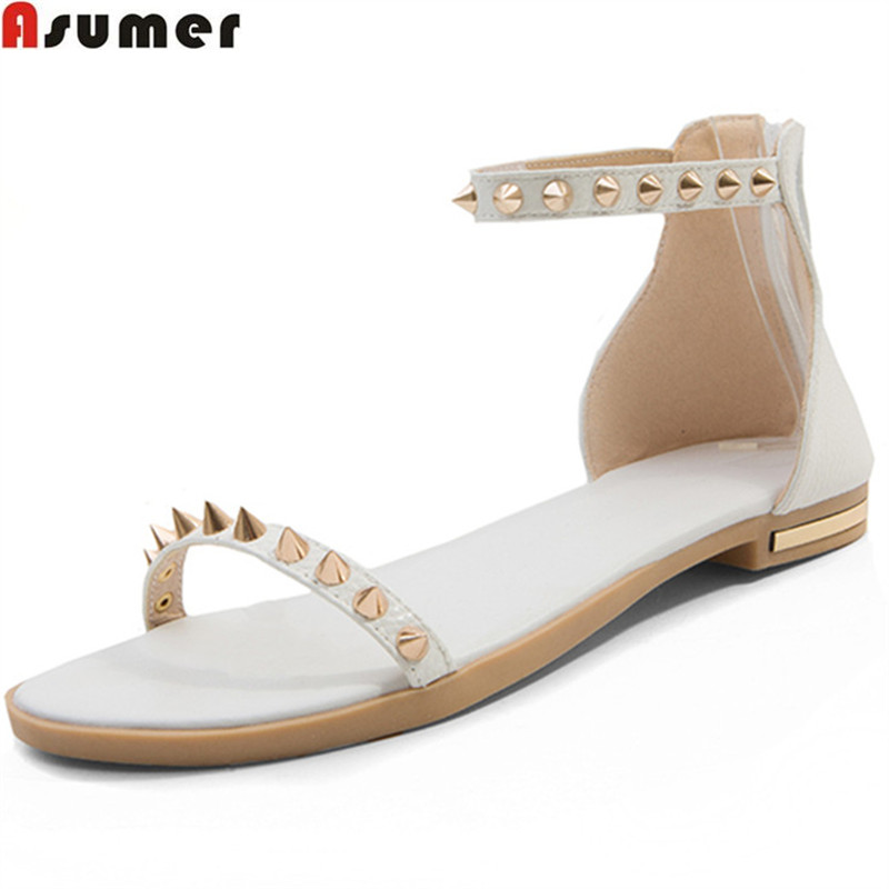 ASUMER 2018 fashion summer new shoes woman rivet casual comfortable flat shoes genuine leather sandals plus size 33-46 discount 2018 fashion leather casual flat shoes women sandals summer shoes flat hollow comfortable breathable size 34 44