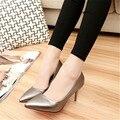 2016 модные туфли на высоком каблуке скольжению тонкие каблуки обувь одного мелкая рот острым носом одиночные женщины женская обувь