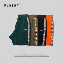 цена на Side Striped Plaid Japanese Style Men's Shorts Drawstring Letter Embroidery Streetwear Fashion Sweatpants Male Shorts Trouser