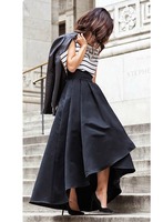 WBCTW Black Pleated Asymmetrical Long Skirts Womens 10XL Plus Size Autumn Vintage High Waist Ball Gown Mermaid Party Skirt