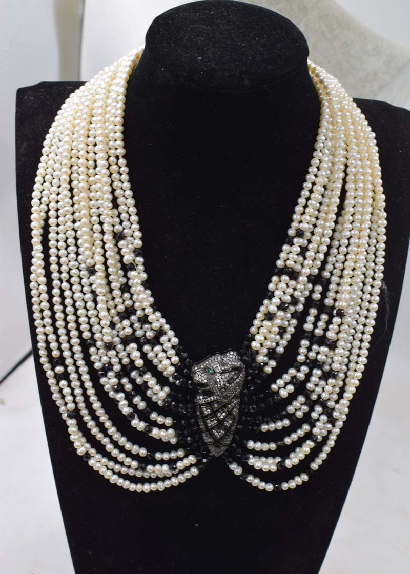 14 рядов пресноводный жемчуг Белый около круглый 3 5 мм и черный агат ожерелье из ограненных камней браслет FPPJ оптовая продажа бусины природа