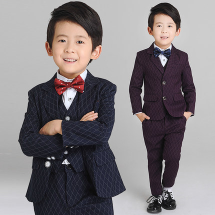 (Jacket+Vest+Pants+Shirt+Bow tie)Boy Slim Fit Suits Plus Size 3-14T Boys Brown Wedding Suits With Pants Business Boy Formal Wear