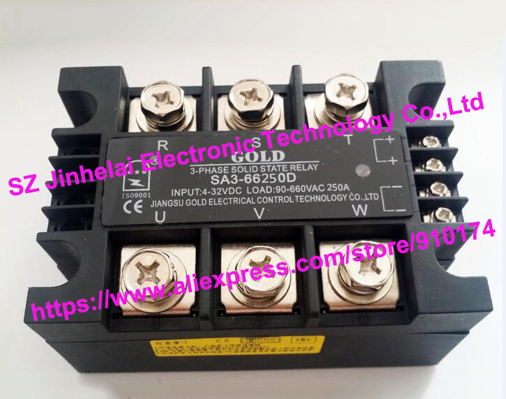 New and original SA366250D SA3-66250D GOLD 3-PHASE Solid state relay 4-32VDC,90-660VAC 250A sa366250d sa3 66250d gold authentic original ssr 3 phase dc control ac solid state relay 250a