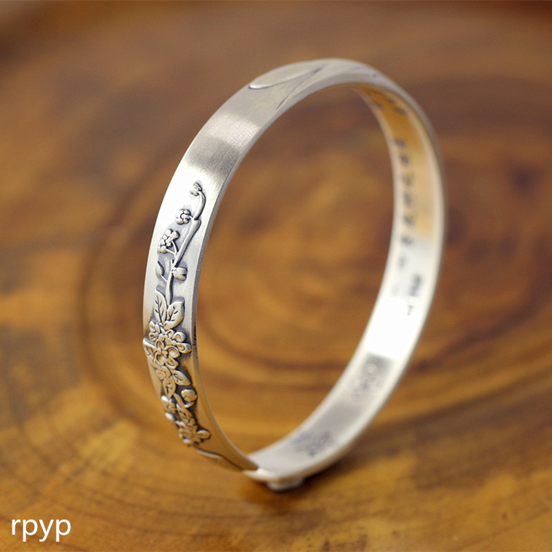 KJJEAXCMY Boutique jewelry S999 pure silver jewelry, matte art, fashion lady's bracelet, Osmanthus fragrans серьги art silver art silver ar004dwzmh30