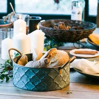 Panier de rangement en métal, panier à pain en fer rétro, Style Antique, panier de rangement en métal, conteneur de fruits, plateau frit Vintage avec poignée décoration 1