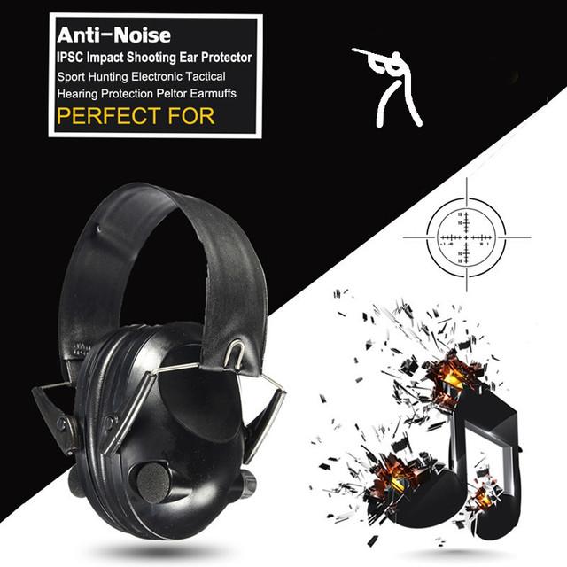 Venta caliente Anti-ruido de Impacto Deporte Táctico Caza Electronic Orejera Disparo de Protectores Auditivos Peltor Orejeras de Protección Auditiva