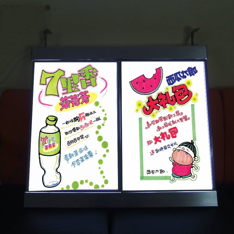 2 Graphics column Single Sided Illuminated LED Menu Board Signs Menu Led Light Box for
