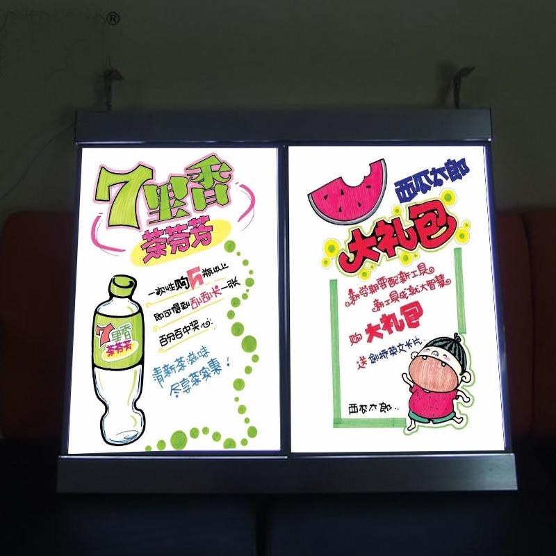 (2 Graphics/column) Single Sided Illuminated LED Menu Board Signs,Menu Led Light Box for ...