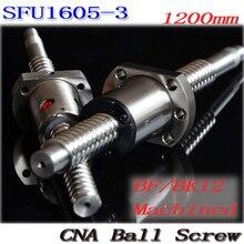 Kugelumlaufspindel SFU1605-3 1200mm kugelgewinde C7 mit 1605 flansch einzigen kugelmutter BK/BF12 ende bearbeitet Holzbearbeitungsmaschinen Teile