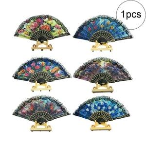 1 шт. испанский Цветочный складной Ручной Веер, цветочные узоры, кружева, Ручной Веер, свадьба, танец, веер, подарок (случайный), как на рисунке