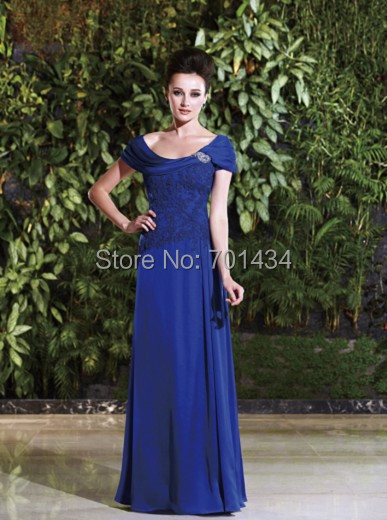 Elegant A Line Mother Bride Dress Long Jewel Liqued Off Shoulder Royal Blue Of The