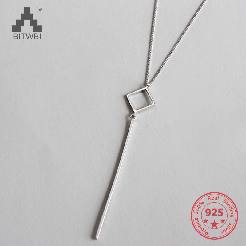 100% S925 Sterling Silber Schmuck Platz Streifen Lange Kette Anhänger & Halsketten SchöN Und Charmant