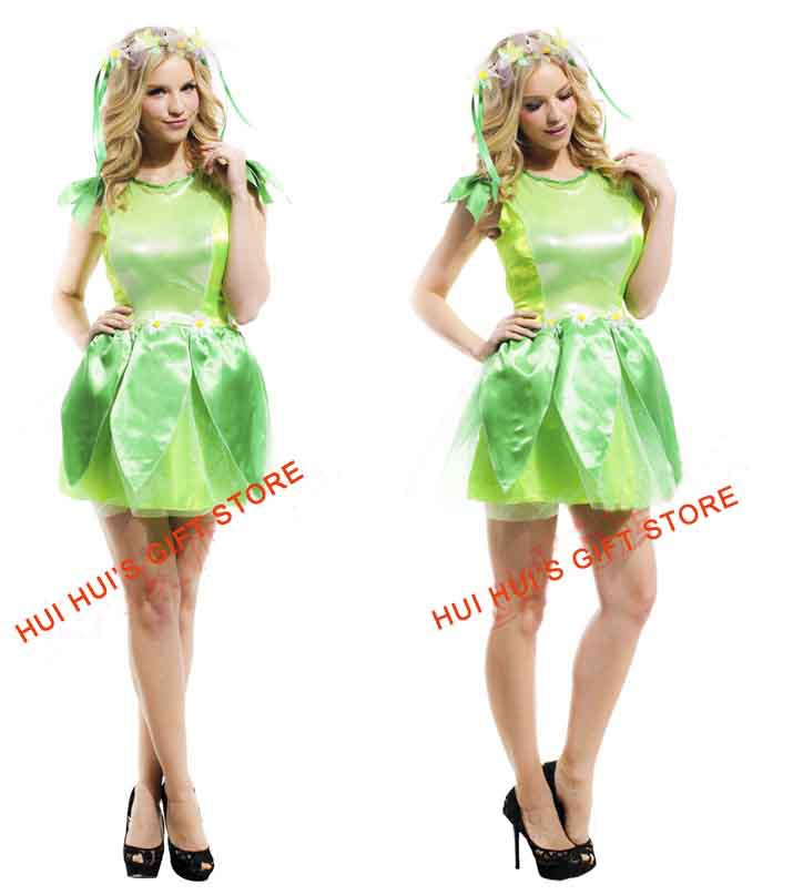 Free shipping ,adult green tinker bell dress costume set,halloween costume party dress and headband