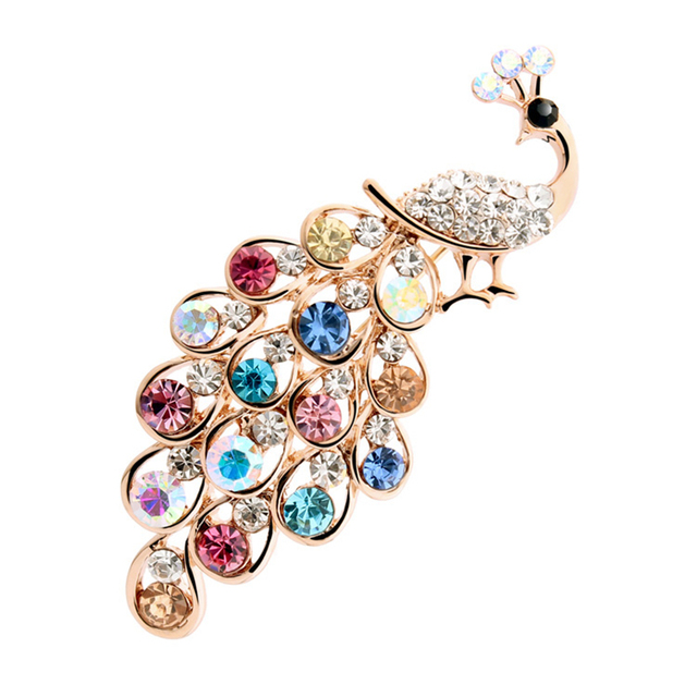 New Arrival Luxury Multi-Color Crystal Rinestone Elegant Peacock Brooches Fashion Charm Lapel Pins For Women Party Accessories
