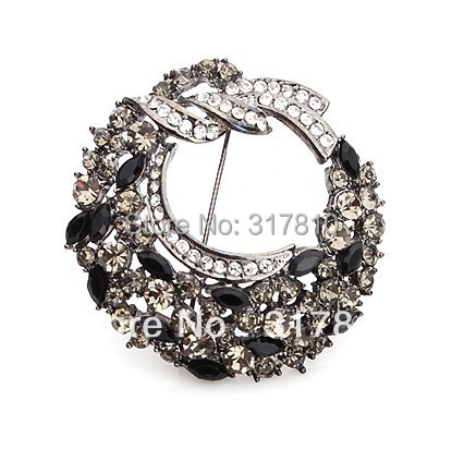 SILVER Pated Grey Rhinestone Crystal Large Wreath Floral Party Pin Brooch