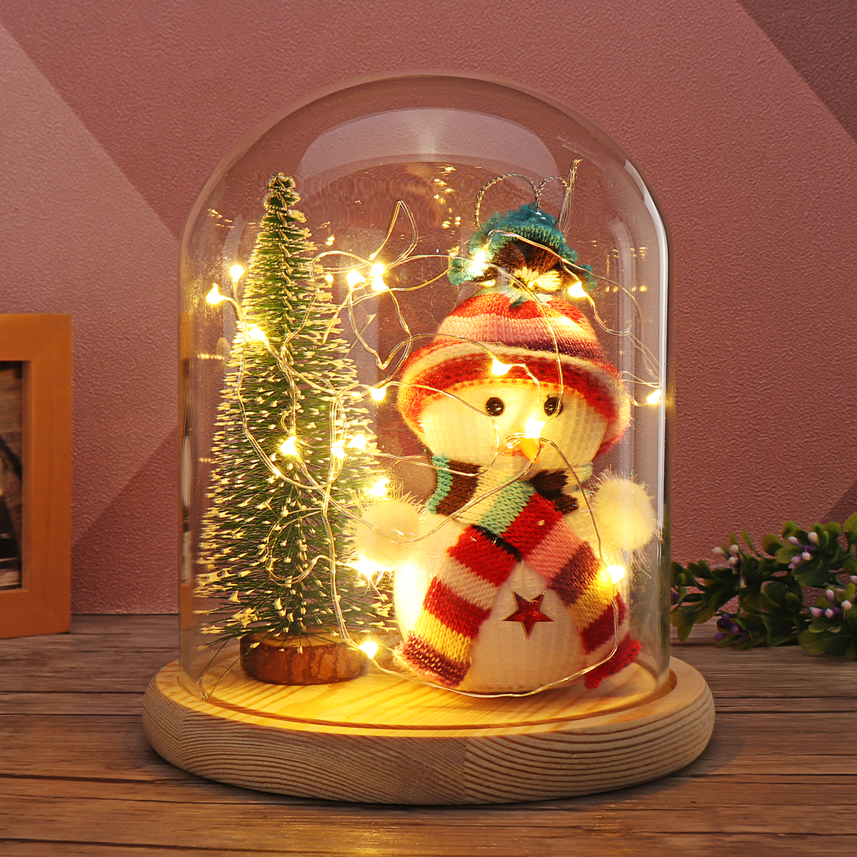 Set Christmas Tree Snowman Glass Dome LED Night Light Bell Jar Display Fairy LED String Light Christmas Party Holiday Home Decor christmas snowman pattern wall decor tapestry
