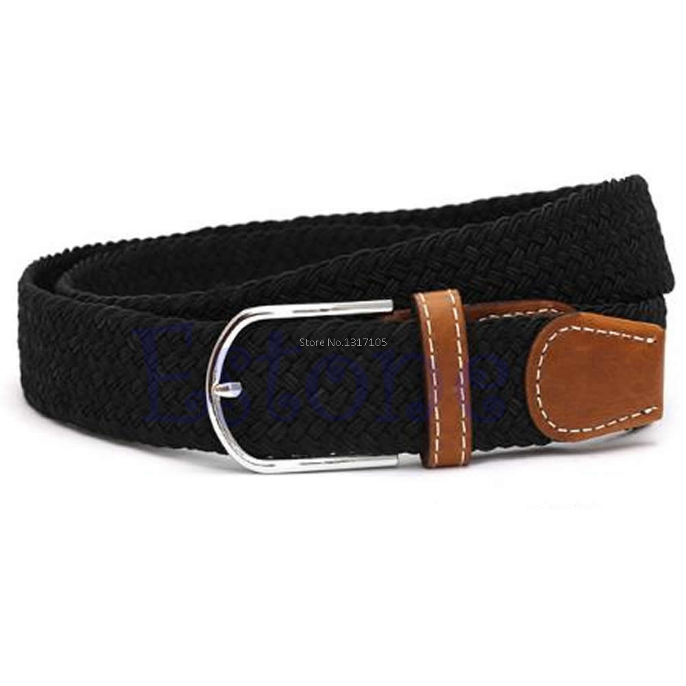 Free Shipping Men Leather Braided Elastictretch Cross Buckle Casual Golf Belt Waistbandet  Tong6