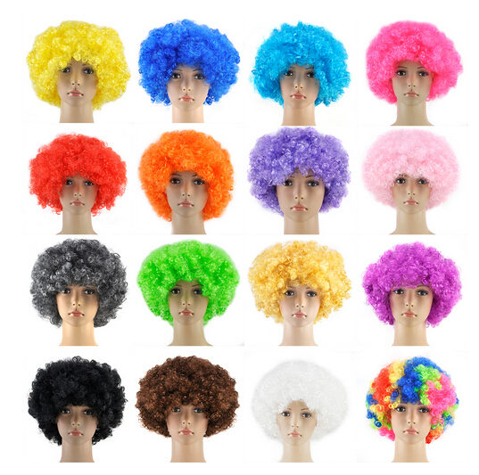 Free pp Curly Afro Fancy Dress Wigs Funky Disco Clown Style Mens/Ladies Costume 70s Hair