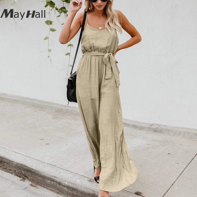 Mayhall Sexy Strap Linen   Jumpsuit   For Women Loose Calf-Length Pants Summer Casual High Waist Female Romper with Pocket MH272