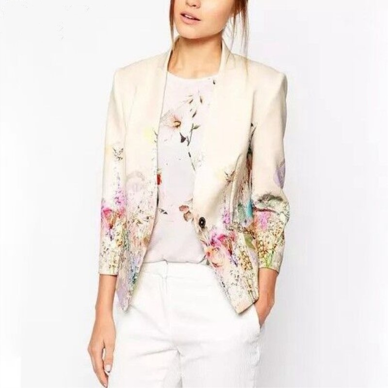 2017 Autumn Female Print Retro Small Suit Coat Fashion Small Jacket Floral Blazer Women Blazers and Jackets Blazer