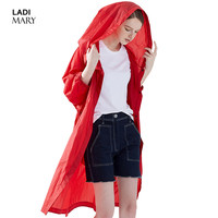 LADIMARY New Women Windbreaker 2017 Spring Autumn Female Coat Casual Loose Solid Color Trench Coat Long