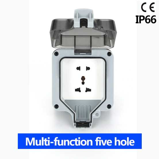 IP66 waterproof socket Multi-function five hole weatherproof Outdoor Wall Power Socket 16A  Standard Electrical Outlet GroundedIP66 waterproof socket Multi-function five hole weatherproof Outdoor Wall Power Socket 16A  Standard Electrical Outlet Grounded