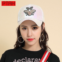 Sequins Mesh Cap Adjustable Polyester Hats Snapback Outdoor Sports Embroided Paillette Breathable Gorras Women Baseball Caps
