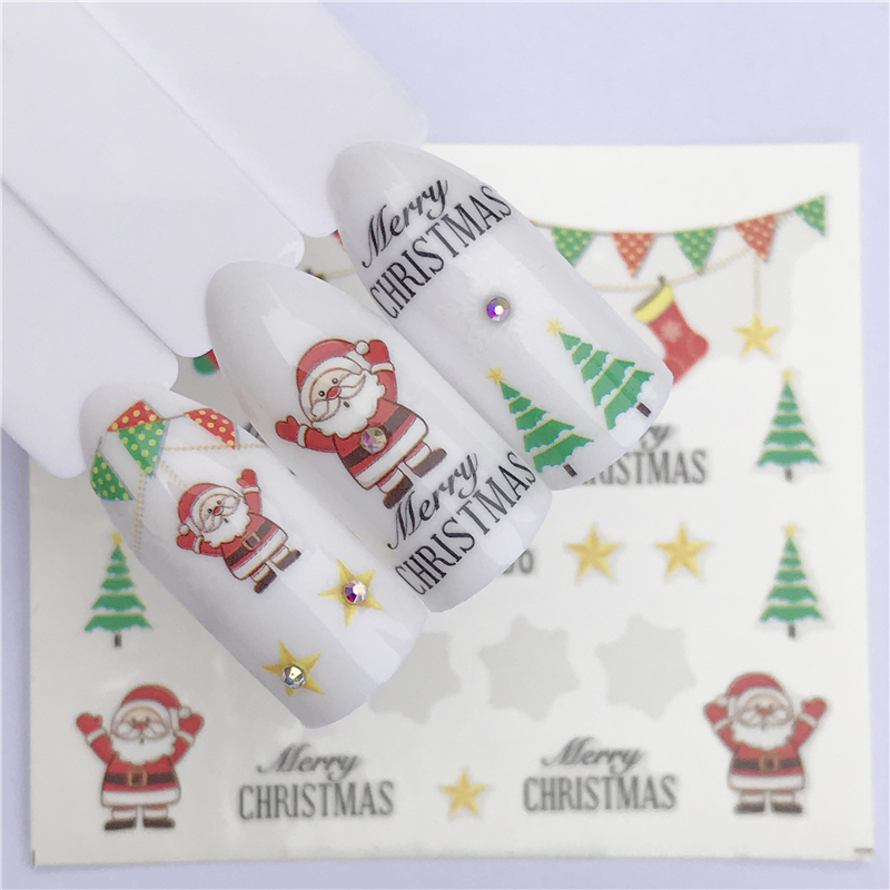 Nail Art sticker - New Year Tattoo Christmas Water Decal Santa Claus  1