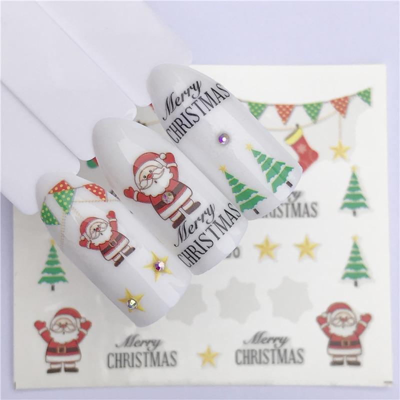 Nail Art sticker - New Year Tattoo Christmas Water Decal Santa Claus  1