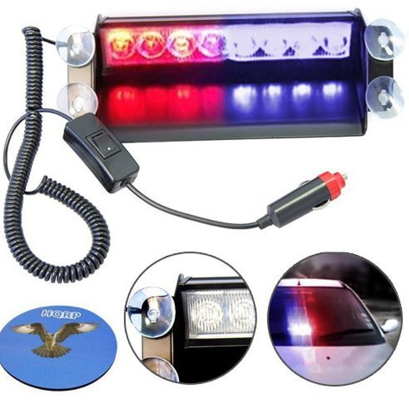 Red/Blue 8-LED Car Truck Emergency Flasher Dash Strobe Warning Light Day Running Flash Led 3 Flashing Modes 12V Police Lights
