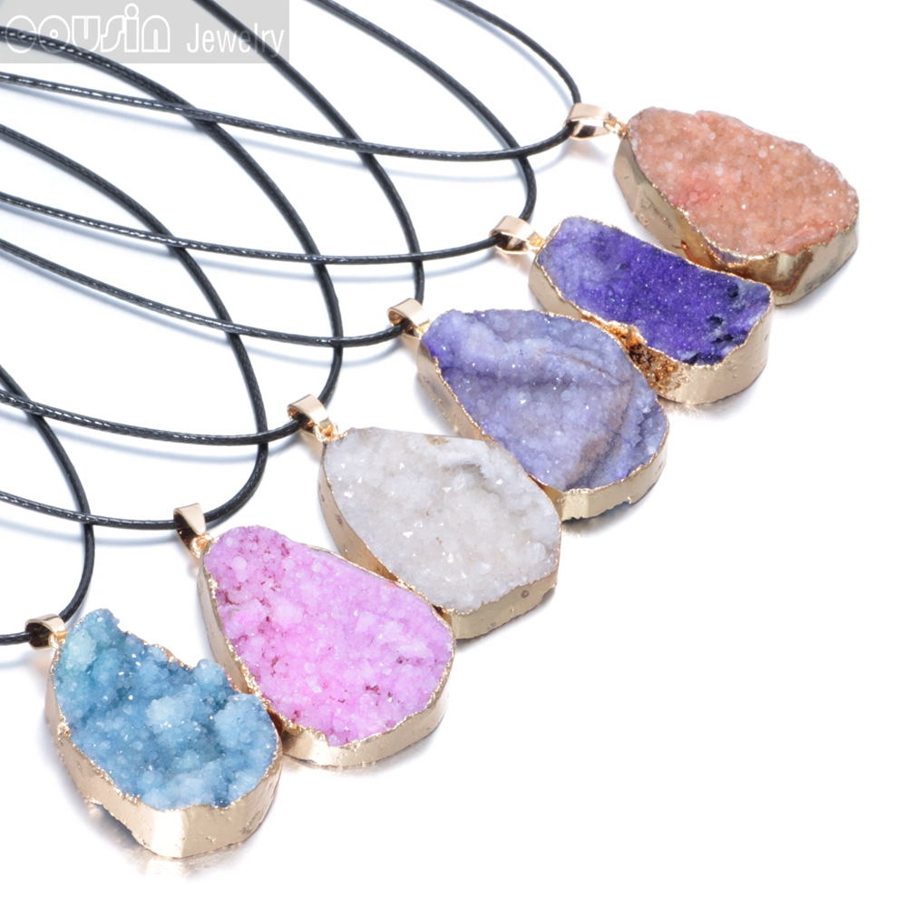 Hot sale Natural Crystal stone  Pendant  with black leather necklace Free shipping Cousin Jewelry