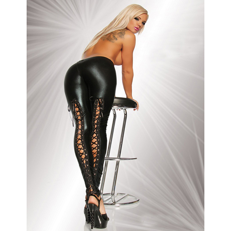 Sexy Punk Rock Hollow Black Pants Lace Up Bandage Women Faux PU Leather Leggings Hot Skinny Fitness Stretchy Leggin Mujer 95Z