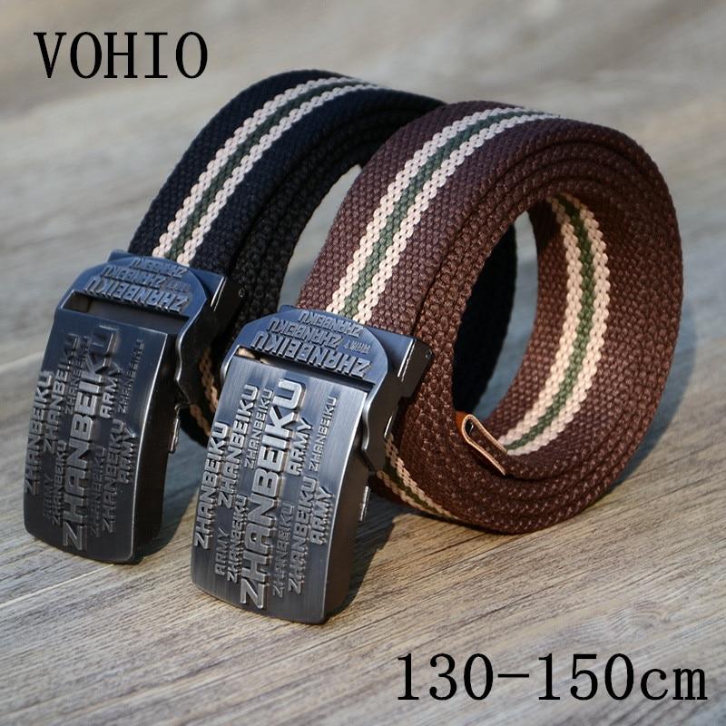 Rohový řemen VOHIO 150 130cm dlouhý plus velikost pánské plátěné plátěné pásy webový pás černý pletený pásový pás pro džíny XL XXL XXXL