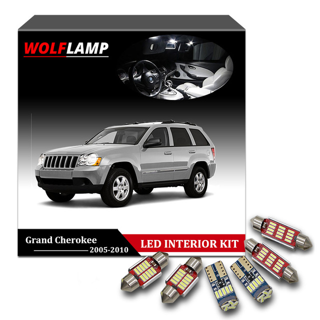 Wolflamp 14pcs White Ice Blue Canbus Led Interior Car Lights For 2005 2010 Jeep Grand