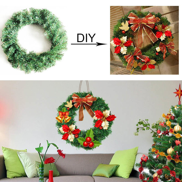 30 /40 /50 Cm Christmas Garland Pure Green Bare DIY Xmas Door Hanging Wreath