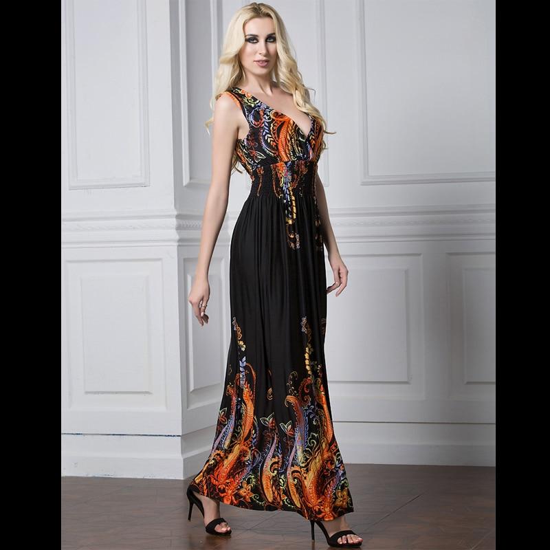 5632be35903050e 2019 повседневное Макси платье с богемным принтом 4XL 5XL плюс размер Boho  Летнее платье женское платье