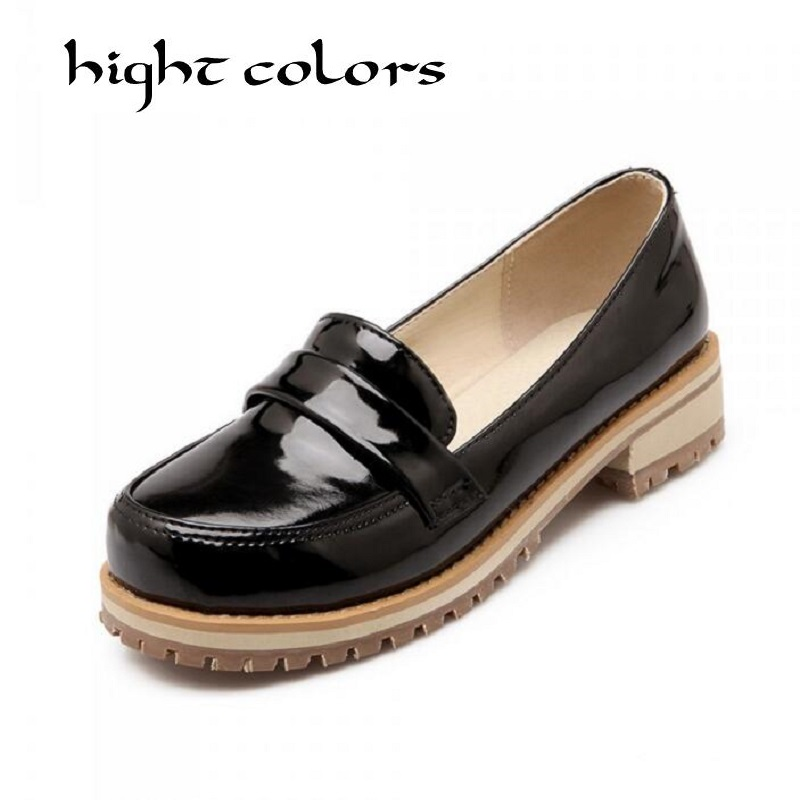 New Round Toe Slip-on Women Loafers Fashion Patent Leather Women Flat Shoes Ladies Casual Flats Big Size 34-43 Women Oxfords