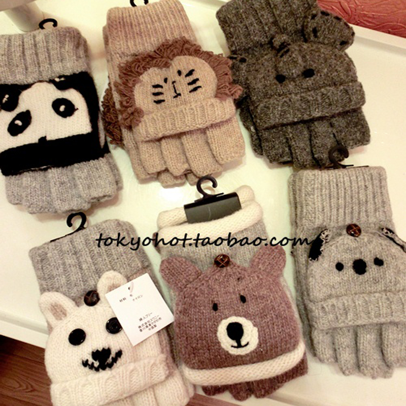 Rabbit wool animals yarn two ways wool cartoon glovs