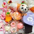squishies wholesale 10pcs mixed kawaii rare panda puff donut aoyama tokyo squishy charm strap for mobile phone Free Shipping