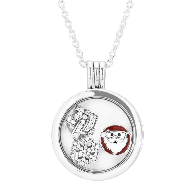 Necklace with Christmas Wonder Petites Genuine 925 Sterling Silver Medium Floating Locket Necklaces & Pendants Jewelry MakingNecklace with Christmas Wonder Petites Genuine 925 Sterling Silver Medium Floating Locket Necklaces & Pendants Jewelry Making
