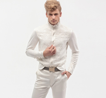 Free Shipping New fashion personality male Men's white Spring long sleeved lace shirt white wedding shirt 14278  custom-made