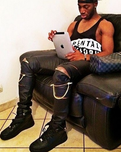 men brand PU Faux Leather PANT Skinny Justin Bieber Clothes Slim Fit tight men Zipper black leather pants men hip hop pant