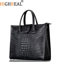 Fashion Luxury Crocodile Pattern Women's Real Leather Handbag Genuine Leather Ladies Shoulder Bag OL Bussiness Laptop Bag