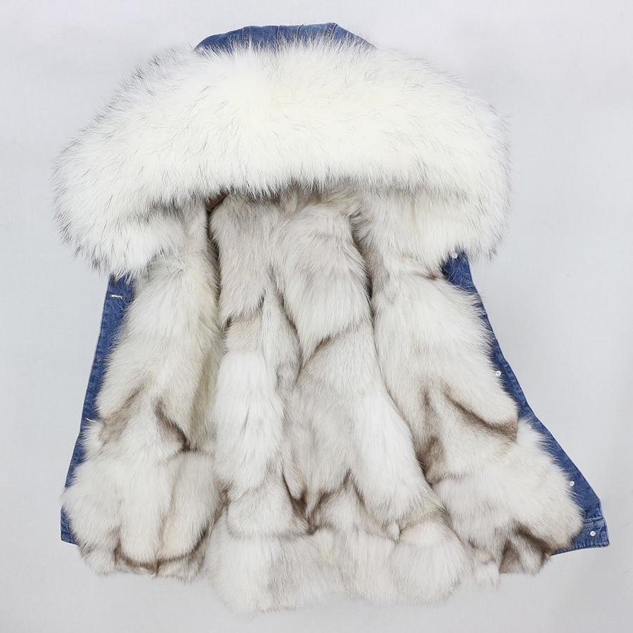 2019 nuovo autunno inverno cappotto del rivestimento delle donne Fori giacca di Jeans reale grande collo di pelliccia di procione con cappuccio reale della pelliccia di fox di spessore fodera calda