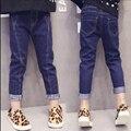 Calças de Brim das crianças Calças de Jeans para Meninas Crianças primavera roupas de outono criança calças Crianças na reparação trecho calças apertadas pés