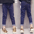 Children Jeans Pants for Girls Jeans Kids spring autumn clothes child trousers Children in the stretch repair tight pants feet